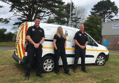 Pest Control Van With 3 Team Members
